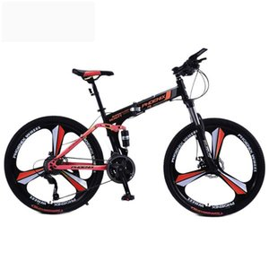 Men's and women's folding mountain bike adult double shock absorber road bike leisure bike student car F8 magnesium alloy three wheel 24 inc