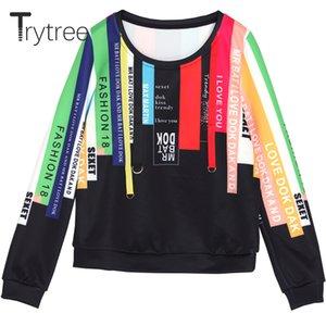 stripe Trytree Primavera-Verão Mulheres Moletons Streetwear Multicolor Polyester O-pescoço capuz completo manga Tops Casual