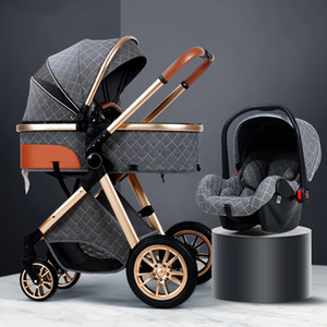 Lüks Bebek Arabası 3 1 Bebek Arabası Yüksek Peyzaj Katlanır Arabası Altın Yenidoğan