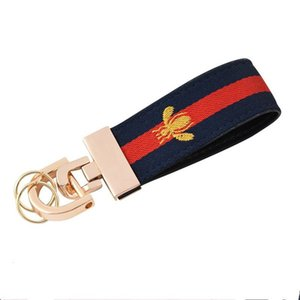 Car key chain French bee luxury key chain for men and women leather canvas clasp luxury 8888