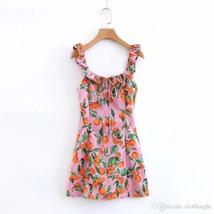 pano Hot 2019 nova primavera de orelha de madeira vestido laranja impressão ocasional acima do joelho Off ombro Mulheres vestido de Verão Vestidos A
