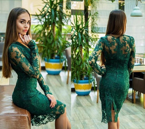 Green Sheath Short Prom Dresses Illusion Lace V-neck Long Sleeves Evening Dress Cocktail Party Dresses Robe De Soiree B132
