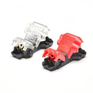 5PCS Peel-free Quick Connector Two-core T-type 2-wire Stripping Terminal Block, Random Color Delivery