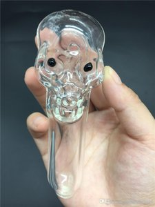 Colorful Thick Big Skull Glass tobacco pipe smoking hand glass herb Spoon pipes with big Deep bowl