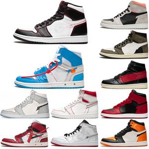 2020 Новое прибытие Jumpman 1 1s обувь высокого Travis Скоттс Бесстрашный Obsidian UNC Mens Женщины Баскетбол Banned Бред Toe Чикаго Мужчины спортивной обуви