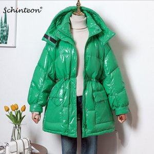Ayrılabilir Hood İyi Kalite Yeni 2020 Schinteon Kadınlar Aşağı Ceket Su geçirmez Kış Dış Giyim Parlak Coat