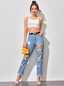 New White and blue ripped jeans For women Fashion High waist loose jeans Street casual boyfriend Summer denim long pants