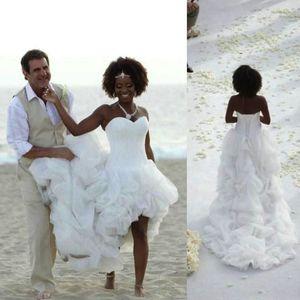 Sexy African Beach Boho Wedding Dresses High Low White Organza Bridal Gowns Sweetheart Cascading Ruffles Tiers Wedding Dress