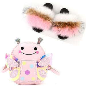 Saco da borboleta de menina bonito saco do bebê dos desenhos animados miúdos da pele Slides Plush Fur Chinelos Fluffy Raccoon Slides Crianças Shoes Set