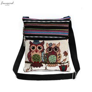 Fashion Ethnic Style Women Messenger Bags Fashion Dual Zipped Cartoon Owl Embroidered Shopping Dating Ladies Girls Shoulder Bag Bolsa