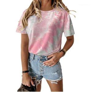 Crew Neck manga curta Multi Color Descontraído Tie Moda Femme Tees Mulheres Verão camisetas Pintado Mulheres Tops Casual