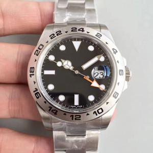 Мужские часы EXP Черный 40MM Sapphire 316 Сталь с GMT рук Браслет автоматические механические нержавеющей стали мужские часы