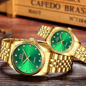 CHENXI пару часов Мужчины Женщины Top Brand Luxury Gold Часы моды водонепроницаемый нержавеющей стали Часы Часы Mujer Релох Hombre CX200720
