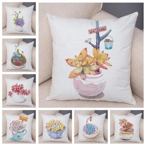 Nordic Style Water Color Succulent Pillow Case Decor Cartoon Plants Cushion Cover for Car Sofa Soft Short Plush Pillowcase 45*45