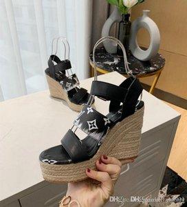 New women's STARBOARD WEDGE SANDAL  designer shoes women's sandals Cognac Brown Rope sole heel height 10cm water platform 6c