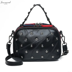 Genuine Leather Bags Women Shoulder Bags For Ladies Crossbody Bags Designer Plain Plain Rivet Handbag