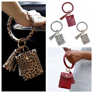 Cartão Bracelet Bangle Bolsa Carteira Keychain Cartão de Crédito Wristlet Chaveiro Leopard Bolsa pulseira titular com Tassel Partido RRA3368 Favor