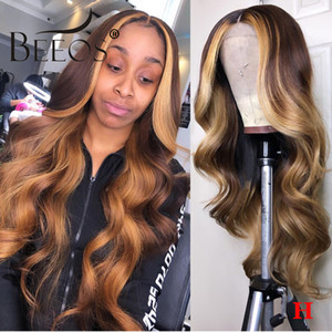 Beeos 13*6 180% Deep Part Lace Front Human Hair Wig Wavy Wave Ombre Honey Blonde Bleached Knots Brazilian Color Remy Hair