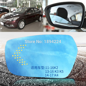 For KIA K2 K3 K4 K5 Car Rearview Mirror Wide Angle Blue Mirror Arrow LED Turning Signal Lights