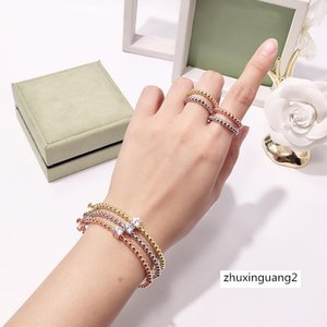Simple Golden Beads Brass Four Leaf Clover Ring for Women Classic Fashion Designer Brand Jewelry Woman