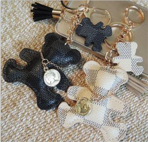 bear Designer Key Chain Tassel Key Ring PU Leather Bear Pattern Car Keychain Jewelry Bag Charm accessories