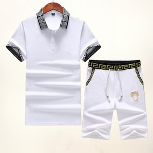 Summer Brand Sweatshirt Designer Men Tracksuit Outerwear Mens Tees Short Sleeve + Pants Fashion Medusa Jogge Tracksuits 008