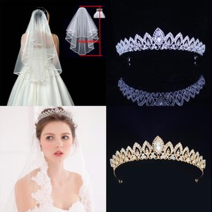 Wedding Bridal Tiara Crown and Veil with Comb Set Bride Headpiece for Women Hair Ornaments Pageant Head Jewelry Accessories