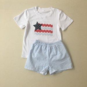 Puresun New Arrival 4th of July Clothing Summer Set Boy T-shirt Match Short Set Wholesale Boutique Children Outfit T200713