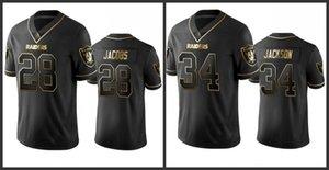 Лас ВегасРейдерыМужчины # 28 Josh Jacobs 34 Бо Джексон Женщины Молодежь прошитойNFL Vapor Untouchable Limited Black Golden Джерси