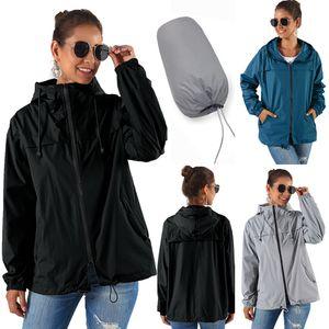 impermeable chaqueta impermeable al aire libre de la mujer rompevientos señoras de la chaqueta con capucha con cremallera con capucha lluvia ligera senderismo impermeable chaquetas
