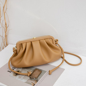 Simple and Fresh High Quality New Release Women Pleated Cloud Shape Golden Chain Twisted Leather Strap Cross Body Bag Designer Bag