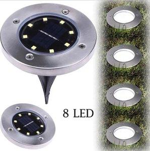 La energía solar enterrada de acero ligero de 8 LED Bajo inoxidable resistente al agua Camino de tierra de la lámpara subterráneo lámpara al aire libre Camino decoración del jardín DHA349