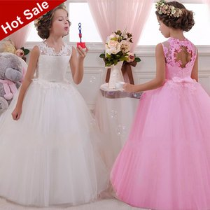 2020 White Lace Girl Party Dress Elegant Bridesmaid Princess Kids Dresses For Girls Children Clothes Wedding Dress 10 12 Years T200709