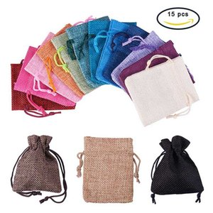 15 Color Burlap Packing Pouches Drawstring Bags Pouches Sacks For Wedding Party Shower Birthday Christmas Jewelry DIY Craft