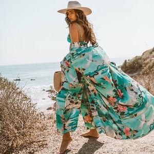 2020 Vintage Retro Nacht Garde Drucken Boho Maxi Kimono Cardigan Bohemian Lange Wickelbluse Sommer Cardigan Bademode