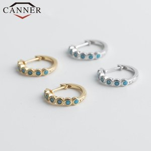 INS 925 Sterling Silver Star Moon Small Hoop Earrings for Women Simple Geometric Gold Silver Round Earrings Korean Jewelry