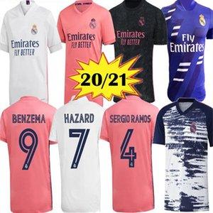 20 21 ريال مدريد كرة القدم جيرسي البنزيما Jovic Madric Sergio Ramos Bale Hazard 2020 2021 رجل بالغ رجل ما قبل مطابقة التدريب الرياضي قمصان كرة القدم
