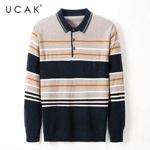 Ucak Marke Herbst-Winter-beiläufige Pullover Männer-Kleidung Street Mode Umlegekragen Pullover Pullover Homme Kleidung U1138