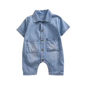 2020 Summer soft denim baby romper short sleeve boys romper newborn rompers baby boy clothes Infant Jumpsuit baby clothes retail B1369