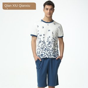 0K1q9 Summer break couple Fashion Home clothes cloth shorts cloth letters printed cotton short-sleeved shorts pajamas cotton men's home wear