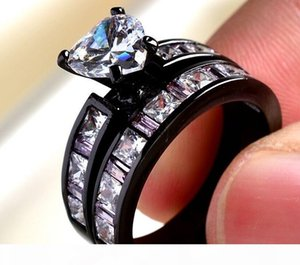 A 2016 New Arrival Women &#039 ;S Jewelry 10kt Black Gold Filled Sapphire Simulated Diamond Wedding Engagement Heart Band Ring Set Gift