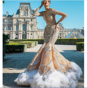 2020 Arabic Aso Ebi Luxurious Sparkly Sexy Evening Dresses Beaded Crystals Prom Dresses Mermaid Feather Formal Party Second Gowns ZJ334