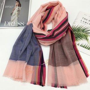 New design big size 190cm -100cm 55% cashmere 45% silk material plain patchwork long scarves pashmina for women