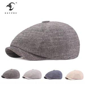 Cotton linen men's cap hat beret Cotton linen beret literary youth forward cap Women's sun hat