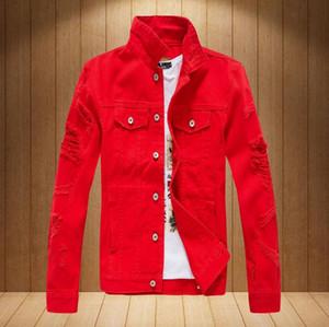 Весна Осень 2020 Мужская Верхняя одежда пальто моды Hip Hop Mens Denim Jacket Сломанный Ripped Жан куртка