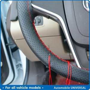Covers 4-color DIY wheel with needle and thread artificial leather car modeling cover 38 cm car steering wheel cover