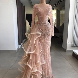 Aso Ebi Mermaid Evening Dresses With Long Sheer Neckline Ruffles Tulle Illusion Long Sleeves Prom Dress Major Beading vestidos de noite