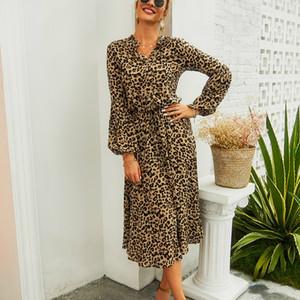 Winter Leopard Print Half Button Blouson Shirt Dress Women Long Sleeve Dress Sexy Party Night Dresses Club Party Vestidos