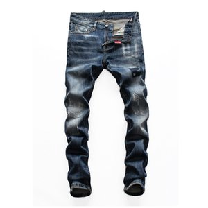 2020 New Style Fashion Mens Straight Slim Fit Biker Jeans Pants Distressed Skinny Ripped Destroyed New Style Good Quality men jeans