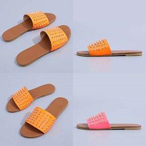 Dener Leater signore Sandali estate piatto Slipper Fasion Beac donna del fumetto Big EAD Slipper Arcobaleno Lettere pantofole 05 # 810